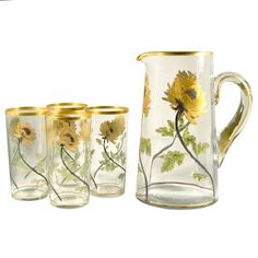 1940s Vintage Gold Chrysanthemum Glass Pitcher & Glasses Set. | Vintage Glassware | The Hour & TheHourShop.com ~ curated cocktail glassware & bar ware for the modern home bar. #vintageglassware