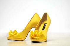 Yellow satin heels ($45); Wedding Shoppe, 1196 Grand Ave.; St. Paul; 651-298-1144.