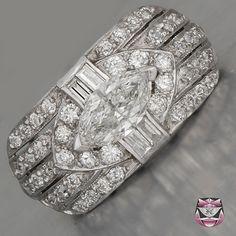 Certified Platinum Antique Marquise Diamond Engagement Ring