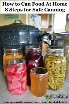 How to Can Food at Home - 8 Steps for Safe Canning How to Can Food at Home - The difference between water bath canning and pressure canning, basic equipment for home canning, general canning tips & recipes. Canning Tips, Home Canning, Canning Recipes, Canning Food Preservation, Preserving Food, Antipasto, Chutney, Water Bath Cooking, Coconut Dessert