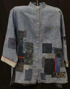 """Something Old, Something Blue"" by Beres Senden. Wearable art.  2014 Canberra Quilters Guild exhibition (Australia)."