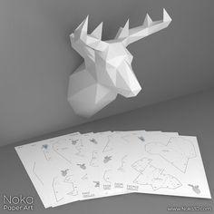 Deer Head Trophy 3D papercraft model. от NokaPaperArt на Etsy