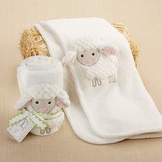Love Ewe Lamb Plush Velour Baby Blanket