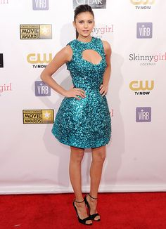 Cosmo cover girl Nina Dobrev in Monique Lhuillier at the 2013 Critics' Choice Awards  http://www.cosmopolitan.com/celebrity/fashion/nina-dobrev-red-carpet-looks#slide-4