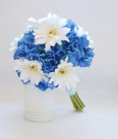 Blue Hydrangea Bouquet, Hydrangea Bouquet, Gerbera Daisies, Spring Bouquet, Bridesmaid Bouquet, Shabby Chic Bouquet, Garden Bouquet by blueorchidcreations on Etsy