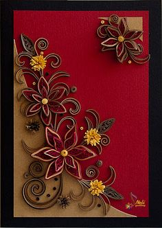 Quilling card - flowers