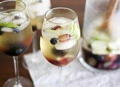 White Wine-Elderflower Sangria.  Better with champagne than club soda!