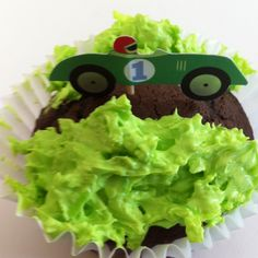 These are the cupcakes I made for my son's 2nd birthday party. A little coconut and green food coloring and the car is cruising through the countryside...