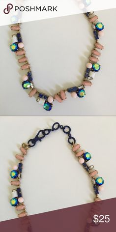 JCrew multi-gem necklace Blush, blue iridescent, blue and white stoned necklace. Coated clasp set in gold. Perfect condition and worn one time. J. Crew Jewelry Necklaces