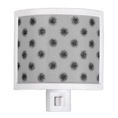 Black on Grey Sketchy Dots Night Light - pattern sample design template diy cyo customize