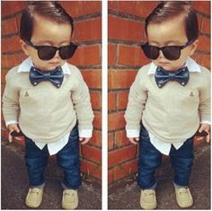 2PCS Baby Boys Gentleman Bow Tie Long Sleeve T-shirt+ Jeans Pants Outfits 2-7Y in Clothing, Shoes & Accessories, Baby & Toddler Clothing, Boys' Clothing (Newborn-5T) | eBay