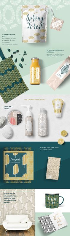 Spring Forest Patterns Collection by Youandigraphics on @creativemarket