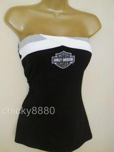 I want !!!!!!!!!!!!!!!!!!!   HARLEY DAVIDSON Colorblock Strapless Tube Tank Top NWT Go