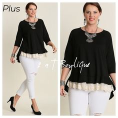 NEW ARRIVAL  PLUS High low lace trim tunic DO NOT buy this listing, comment below to make sure I have your size available and I will make you a personal listing  Black high low lace trim tunic. Available in size XL(12-14) 1X(14-16) and 2X(16-18). TK1325211 2 a T Boutique  Tops Tunics