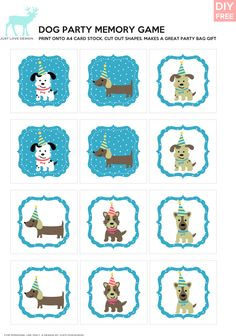 DIY Free Doggy Party Blue Memory Game - JustLoveDesign