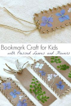 Bookmark Craft for Kids Using Pressed Flowers and Leaves : Spring Nature Crafts for kids Crafts To Do, Crafts For Kids, Arts And Crafts, Paper Crafts, Craft Kids, Easy Crafts, Homemade Bookmarks, Diy Bookmarks, Bookmark Craft