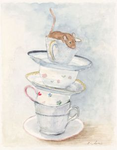 Mouse & China Teacups Watercolor