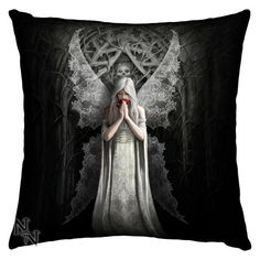 Only Love Remains Cushion (42cm) (Anne Stokes)  Goth/Gothic/Fantasy/Angel/Lace/Skulls/Roses/Blood/White/Black/Pillow/Bedroom/Home/Cushion Cover