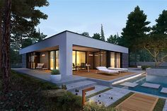 EX 21 soft - projekt domu - Archipelag Modern Bungalow House, Bungalow House Plans, Small Bungalow, Modern Small House Design, Minimalist House Design, White Exterior Houses, Dream House Exterior, Modern Residential Architecture, House Layouts