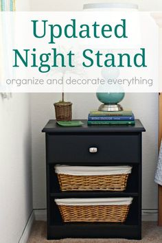 Updated Nightstand using paint, baskets, and a new knob. What a difference! @BehrPaint #BEHR #BEHRMarquee #ad: