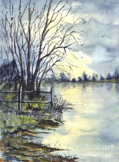 Lovely watercolor of a Scottish tarn!