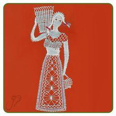Femme au Panier 1-2 Hairpin Lace Crochet, Crochet Motif, Crochet Shawl, Crochet Edgings, Bobbin Lace Patterns, Bead Loom Patterns, Lace Earrings, Lace Jewelry, Lace Heart