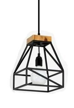 lampara colgante de hierro y madera Iron Furniture, Steel Furniture, Industrial Furniture, Furniture Design, Industrial Lighting, Interior Lighting, Home Lighting, Lighting Design, Wooden Lamp