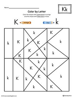 The Uppercase Letter K Color-by-Letter Worksheet will help your child identify the letters of the alphabet and discover colors and shapes. Letter Worksheets For Preschool, Preschool Letters, Letter Activities, Printable Alphabet Worksheets, Letter Case, Alphabet Coloring Pages, Uppercase And Lowercase Letters, Letter A Crafts, Shapes