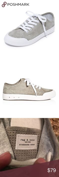 Rag & Bone Perforated Grey Suede Lace Up Sneakers Like new!!🎉🎉Easy Rag & Bone sneakers in perforated suede. A logo emblem accents the heel, and embossed dots detail the midsole. Cushioned insole. Rubber sole. rag & bone Shoes Sneakers