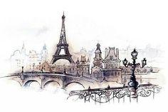 Drawing of Eiffel Tower & paris art