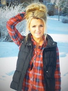 Flannel and puffy vests