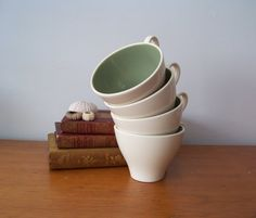 Green and Cream Coffee Cups Teacups  Shabby by LillyQueenVintage, $16.00