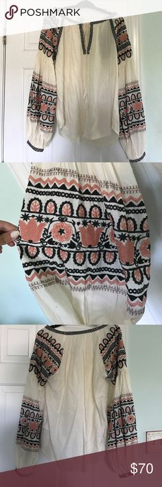 Trendy embroidered blouse Embroidered peasant blouse Urban Outfitters Tops Blouses