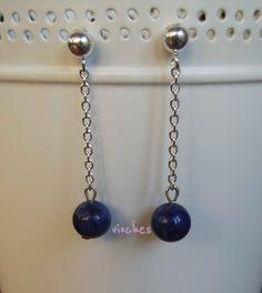 b71ef6bf3754 Pendientes de plata con lapislázuli en forma de bola. Puedes comprarlos por  8 € en