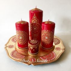 Handmadered/gold Henna Inspired Candle SetPerfect by dotnswirls