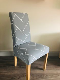 Light Grey Geometric Pattern Dining Chair Covers, Dining Chairs, Grey Velvet Chair, Accent Chairs, Medium, Pattern, Furniture, Home Decor, Upholstered Chairs