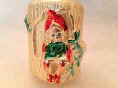Antique Mercury Glass Gnome in Log Enchanted Forest Xmas Ornament Germany RARE