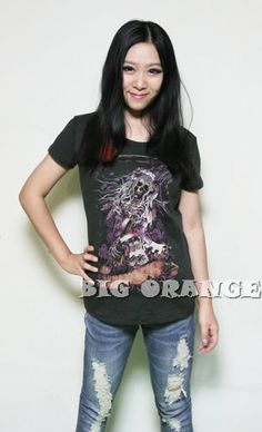 2015 summer punk Iron fist long hair  Women  skull sickle ghost with a knife t shirts