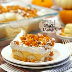 Pumpkin Pie Dessert Lasagna is a fun twist on a Thanksgiving classic! Easy, delicious, and full of pumpkin spice!