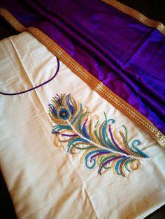 Embroidery On Kurtis, Hand Embroidery Dress, Kurti Embroidery Design, Flower Embroidery Designs, Embroidery Motifs, Embroidery Fashion, Beaded Embroidery, Machine Embroidery Designs, Churidhar Designs