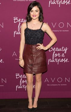 Celebrities In Leather: Lucy Hale wears a red leather skirt
