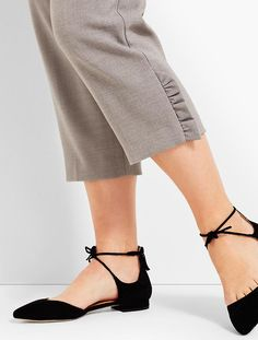 Womans Exclusive Double-Crepe Ruffled Slim Ankle | Talbots