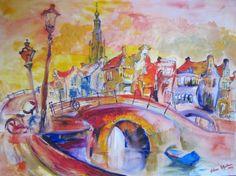 Matin à Amsterdam - Olieverf op doek - Elena Polyakova (1970-)