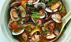 lime and Thai basil broth: I have discarded half the clam shells ...
