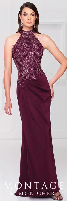 Formal Evening Gowns by Mon Cheri - Spring 2017 - Style No. 117904 - burgundy evening dress with beaded lace bodice and high halter neckline