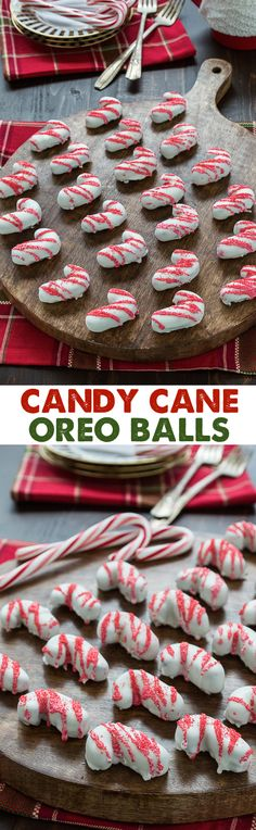 This is a great treat for Christmas! Any flavor oreo balls you want made to look like candy canes! These are SO FUN!