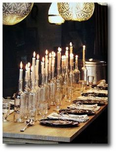 Decorating On The Cheap- Using Glass Bottles For Candle Holders- Elegant Dinner Ideas