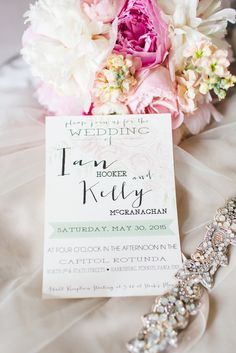 Custom mint accented invitations with chic pink rose detail. | Petals With Style | Lauren Fair Photography