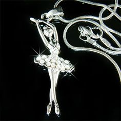 Swarovski Crystal BALLERINA Ballet Dance Girl Dancer dancing Pendant Necklace. $8.00, via Etsy.