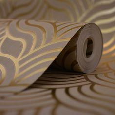 Muriva Precious Silks Art Deco Wallpaper Beige / Gold - Wallpaper from I love wallpaper UK